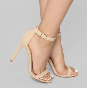 Fashion Nova Ankle Strap Nude Heels Evening Shoes
